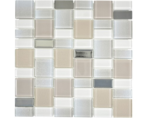 Glasmosaik Dazzle 36P 30x30 cm beige