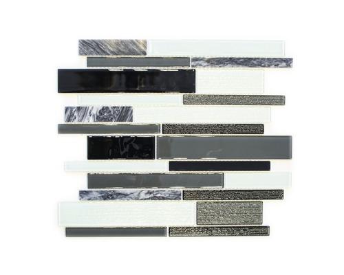 Glasmosaik CM GV34 28,6x30 cm mix schwarz/grau/weiß