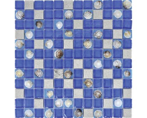 Glasmosaik XCM CN04 Muschel blau grau 30x30 cm