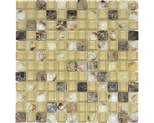 Glasmosaik XCM CN14 Muschel beige braun 30x30 cm