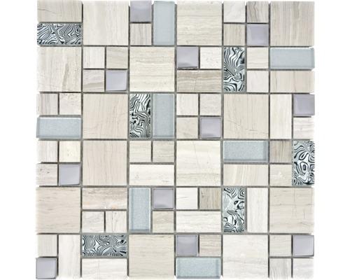 Natursteinmosaik XCM MC599 30x30 cm grau/weiß
