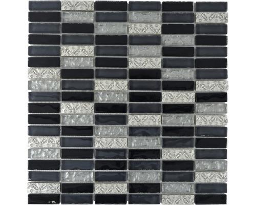 Glasmosaik XCM SM108 29,8x30,4 cm silber/schwarz