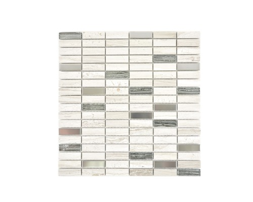 Natursteinmosaik XNM SM67 29,8x30,4 cm grau/weiß