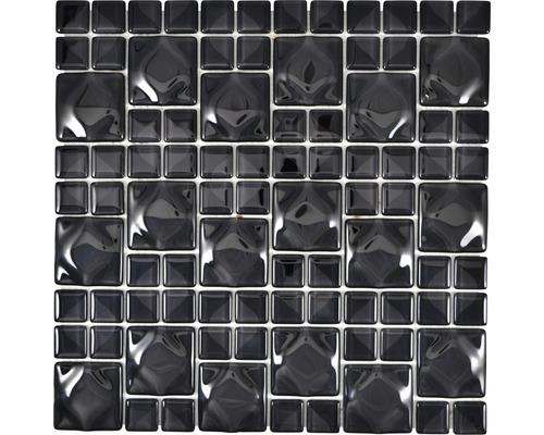 Glasmosaik WAVY 05 30x30 cm schwarz