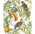 Vliestapete 630207 Paradisio Floral/Papagei grün