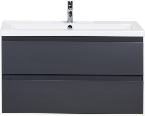 Badmöbel-Set Evora 100 cm mit Keramikwaschtisch Anthrazit matt