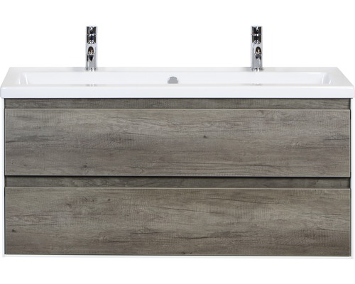 Badmöbel-Set Evora 120 cm mit Keramikwaschtisch 2 Hahnlöcher Nebraska Eiche
