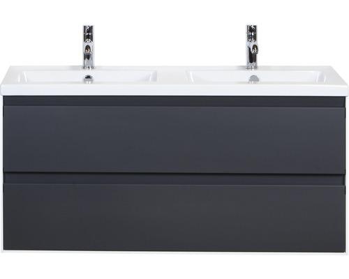 Badmöbel-Set Evora 120 cm Doppelwaschtisch Keramik Anthrazit matt