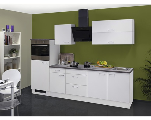 Küchenzeile Lucca 270 cm weiß inkl. Einbaugeräte