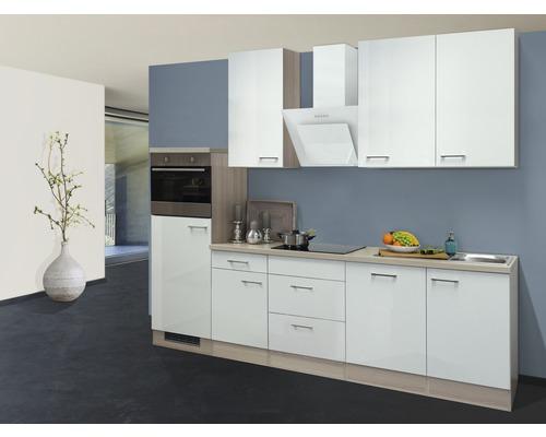 Küchenzeile Abaco 280 cm perlmutt inkl. Einbaugeräte