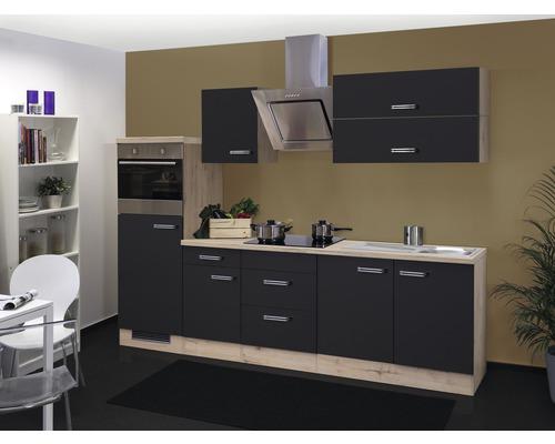 Küchenzeile Santo 270 cm anthrazit inkl. Einbaugeräte