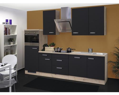 Küchenzeile Santo 280 cm anthrazit inkl. Einbaugeräte