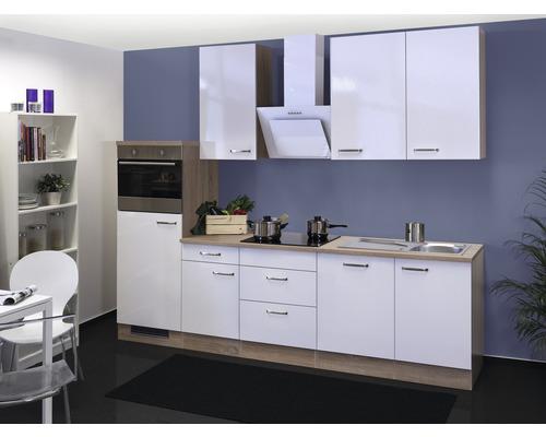 Küchenzeile Valero 280 cm weiß hochglanz inkl. Einbaugeräte