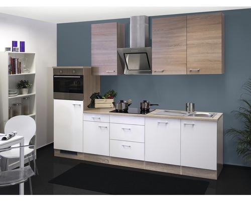 Küchenzeile Samoa 280 cm weiß inkl. Einbaugeräte
