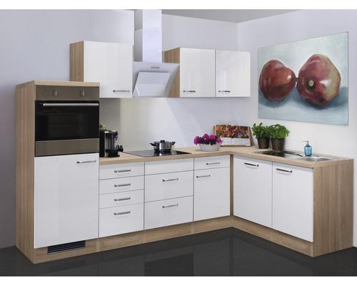 Winkelküche Valero 280x170 cm weiß hochglanz inkl. Einbaugeräte