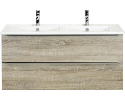 Badmöbel-Set Pulse 120 cm mit Doppelwaschtisch Keramik Eiche grau