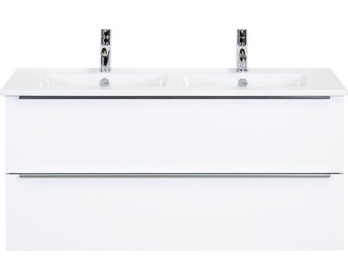 Badmöbel-Set Pulse 120 cm mit Doppelwaschtisch Keramik weiß hochglanz
