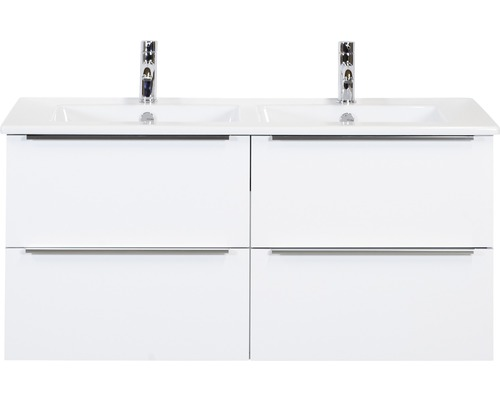 Badmöbel-Set Pulse 120 cm mit Doppelwaschtisch Keramik 4 Schubladen weiß hochglanz