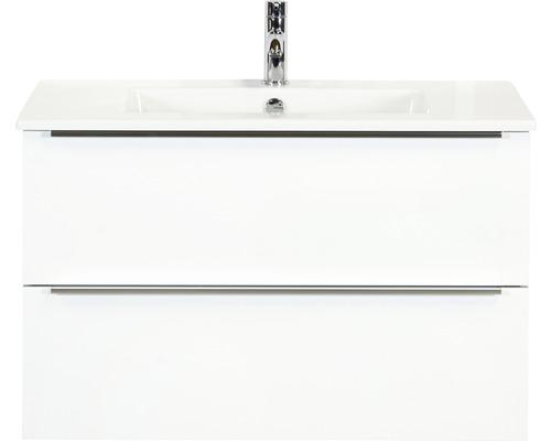 Badmöbel-Set Pulse 90 cm mit Keramikwaschtisch weiß hochglanz