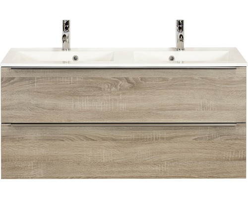 Badmöbel-Set Pulse 120 cm mit Doppelwaschtisch Eiche grau
