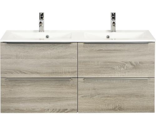 Badmöbel-Set Pulse 120 cm mit Doppelwaschtisch 4 Schubladen Eiche grau