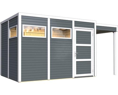 Gartenhaus Cubo 3 mit Fußboden und Schleppdach 470 x 234 cm anthrazit