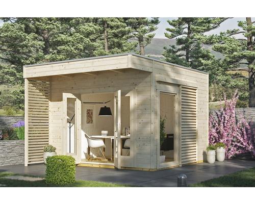 Gartenhaus SKAN HOLZ Tokio 2 doppelschalig mit Fußboden und KSK-M Dachbahn 340 x 340 cm natur