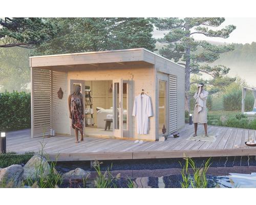 Gartenhaus SKAN HOLZ Tokio 4 einschalig mit Fußboden und KSK-M Dachbahn 402 x 402 cm natur