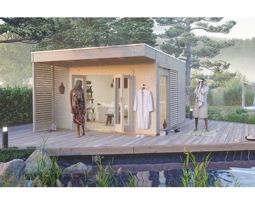 Gartenhaus SKAN HOLZ Tokio 4 doppelschalig mit Fußboden und KSK-M Dachbahn 402 x 402 cm natur