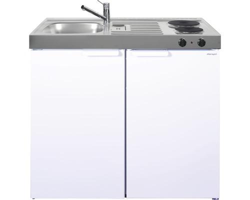 Miniküche stengel Kitchenline MK100, Breite 100 cm, Becken Links, weiß glänzend 1110000002100