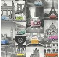 Vliestapete 42509-10 Collage VW Bulli grau bunt