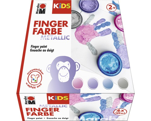 Marabu KIDS Fingerfarbe Metallic 100ml 4er-Set