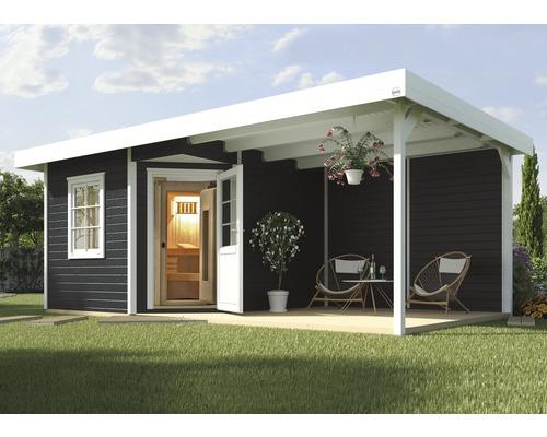 Saunahaus Weka Salo B inkl.7,5 kW Ofen u.digitaler Steuerung mit Holztüre und Isolierglas wärmegedämmt anthrazit/weiß