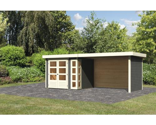 Gartenhaus Karibu Naomi 3 mit seitlichem Anbau 2,8 m und Seiten- und Rückwand 497 x 217 cm terragrau