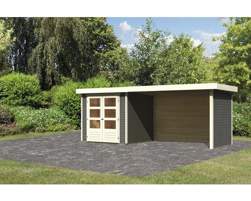 Gartenhaus Karibu Kodiak 2 mit Anbau 2,8 m, Rück- und Seitenwand 472 x 217 cm terragrau