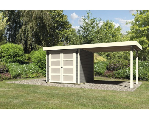 Gartenhaus Karibu Buchbach 2 mit Anbau 2,8 m 468 x 217 cm terragrau