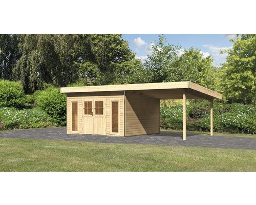 Gartenhaus Karibu Seevetal 2 classic mit Anbau 3 m und Spalier 665 x 369 cm natur