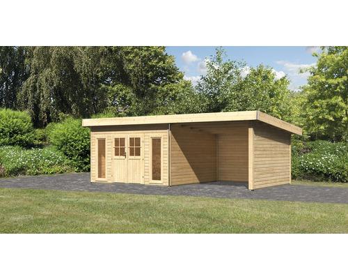Gartenhaus Karibu Seevetal 2 mit Anbau, Rück- und Seitenwand und Spalier 665 x 369 cm natur