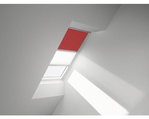 VELUX Vorteils-Set Verdunkelungsrollo uni rot und Faltstore Plissee in weiß DFD 206 4572S