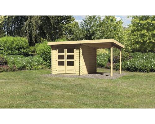 Gartenhaus Karibu Noorvik 4 mit Schleppdach 2 m 420 x 297 cm natur