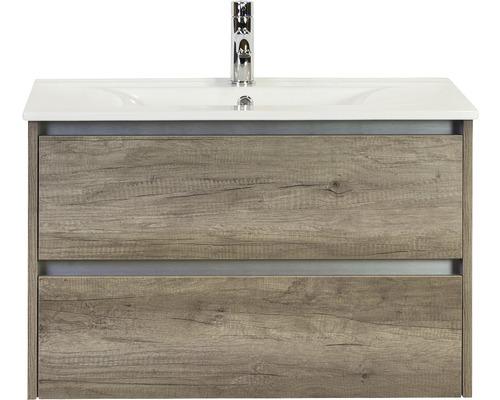 Badmöbel-Set Dante 80 cm mit Keramikwaschtisch Nebraska Eiche