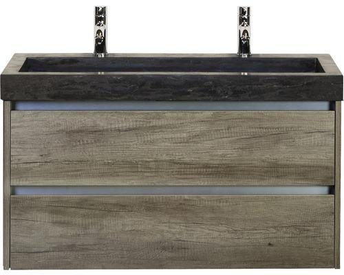 Badmöbel-Set Dante 100 cm mit Natursteinwaschtisch 2 Hahnlöcher Nebraska Eiche