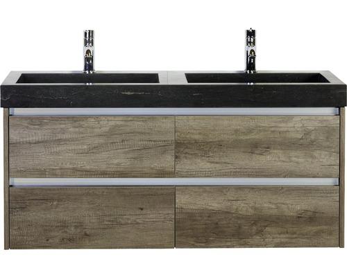 Badmöbel-Set Dante 120 cm mit Doppelwaschtisch Naturstein Nebraska Eiche