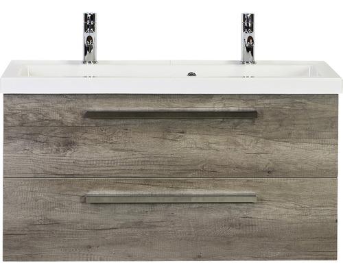 Badmöbel-Set Seville 100 cm mit Waschtisch 2 Hahnlöcher Nebraska Eiche