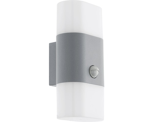 LED Sensor Außenwandleuchte 2x5,5W 1300 lm 3000 K warmweiß H 260 mm Favria silber/weiß