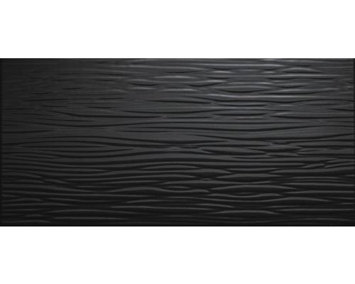 Steingut Wandfliese Nora schwarz glänzend 25 x 50 cm