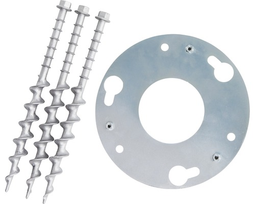 Erdanker + Adapterplatte Degardo für Lunocs Stahl/verzinkt/alu Ø 250 mm