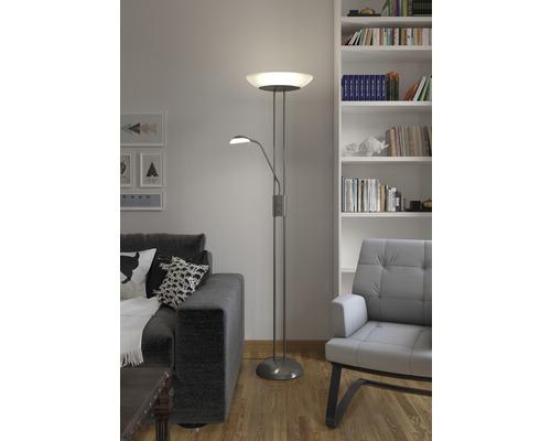 LED Deckenfluter mit Leseleuchte dimmbar 23W 2100 lm 3000 K warmweiß H 1814 mm 2-flammig nickel