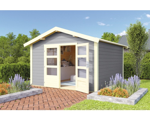 Gartenhaus Karibu She Shed Darling 7 mit Fußboden 304 x 304 cm terragrau