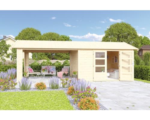 Gartenhaus Karibu She Shed Darling 7 mit Schleppdach und Fußboden 600 x 304 cm natur